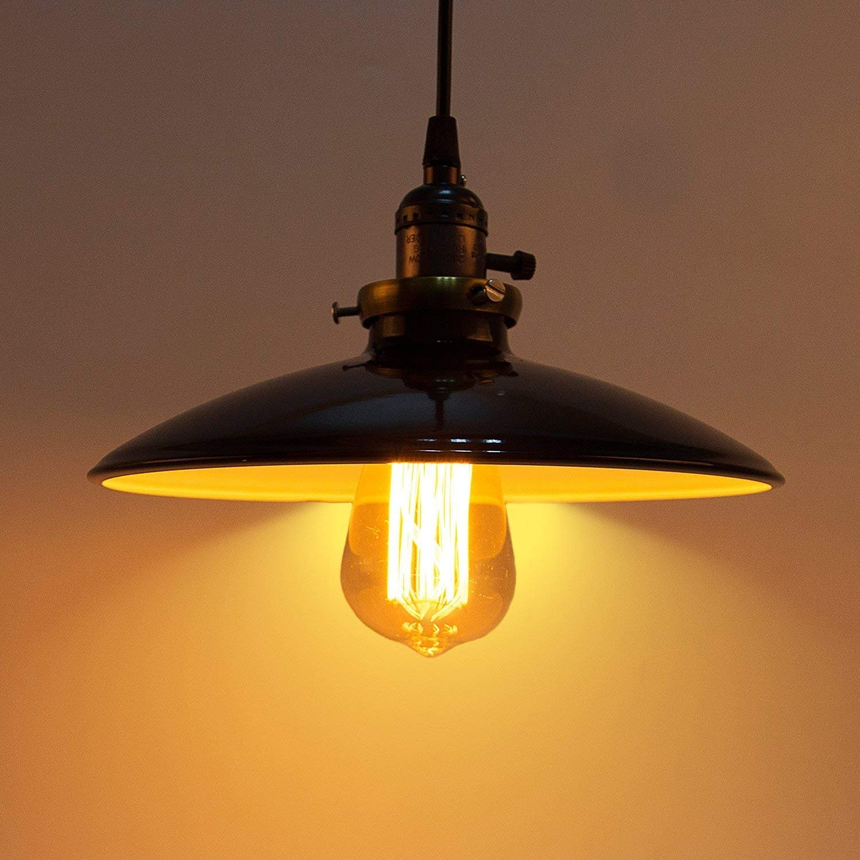 Lightess Luminaire Suspension Vintage Rétro E27 Style Industriel En