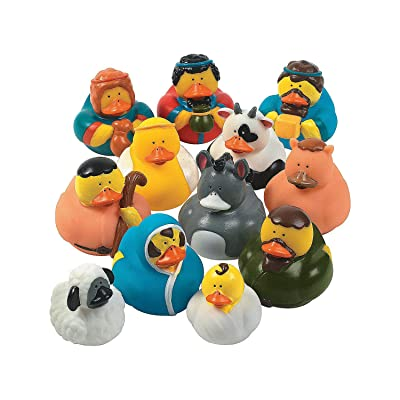 Fun Express - Nativity Rubber Duckies for Christmas - Toys - Character Toys - Rubber Duckies - Christmas - 12 Pieces: Toys & Games