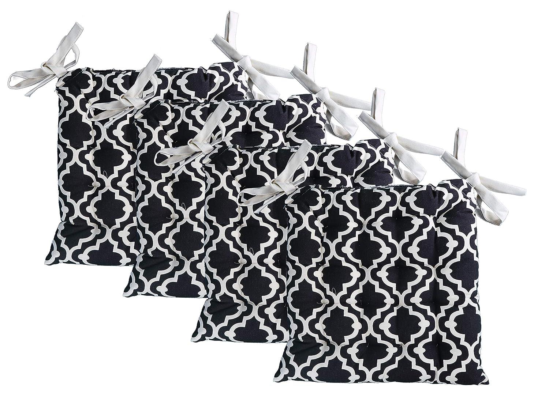 "Unity Chair Pads - Cotton Canvas - Value 4 Pack - Fits 15"" Chair - Moroccan Trellis Pattern - Classic Design (Black)"