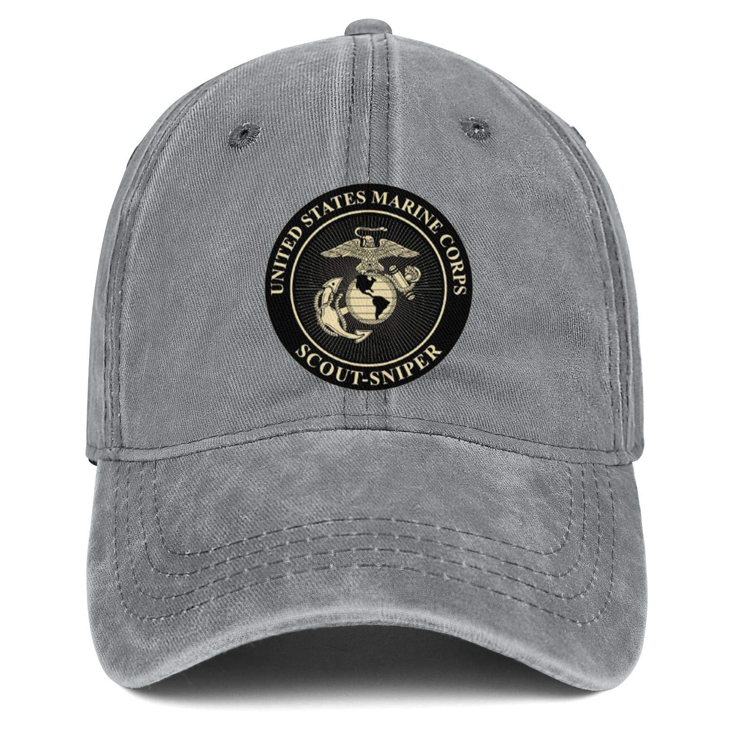 United States Marine Corps Scout Sniper Low Profile Washed Distressed Strapback Hat Designer Twill Jean Hats Mens