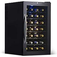 NewAir Wine Cooler and Refrigerator, 28 Bottle Freestanding Wine Chiller Fridge, Black with Glass Door, AW-280E