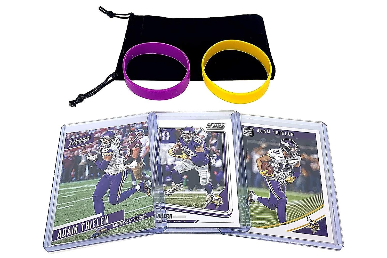 Adam Thielen Football Cards (3) Assorted Bundle - Minnesota Vikings Trading Card Gift Set Panini Bowman Topps
