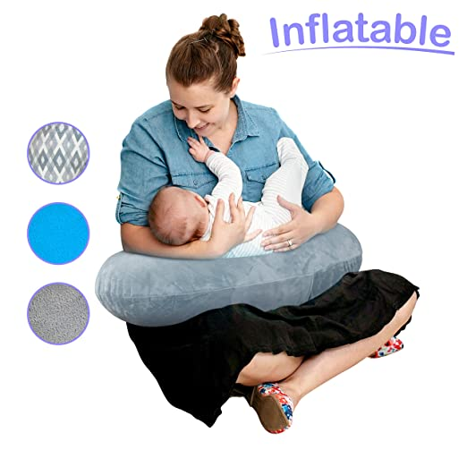 The Original Inflatable Nursing Pillow with Slipcover: Portable Breastfeeding Support Cushion with Removable Plush Minky Cover - Compact Breast ...
