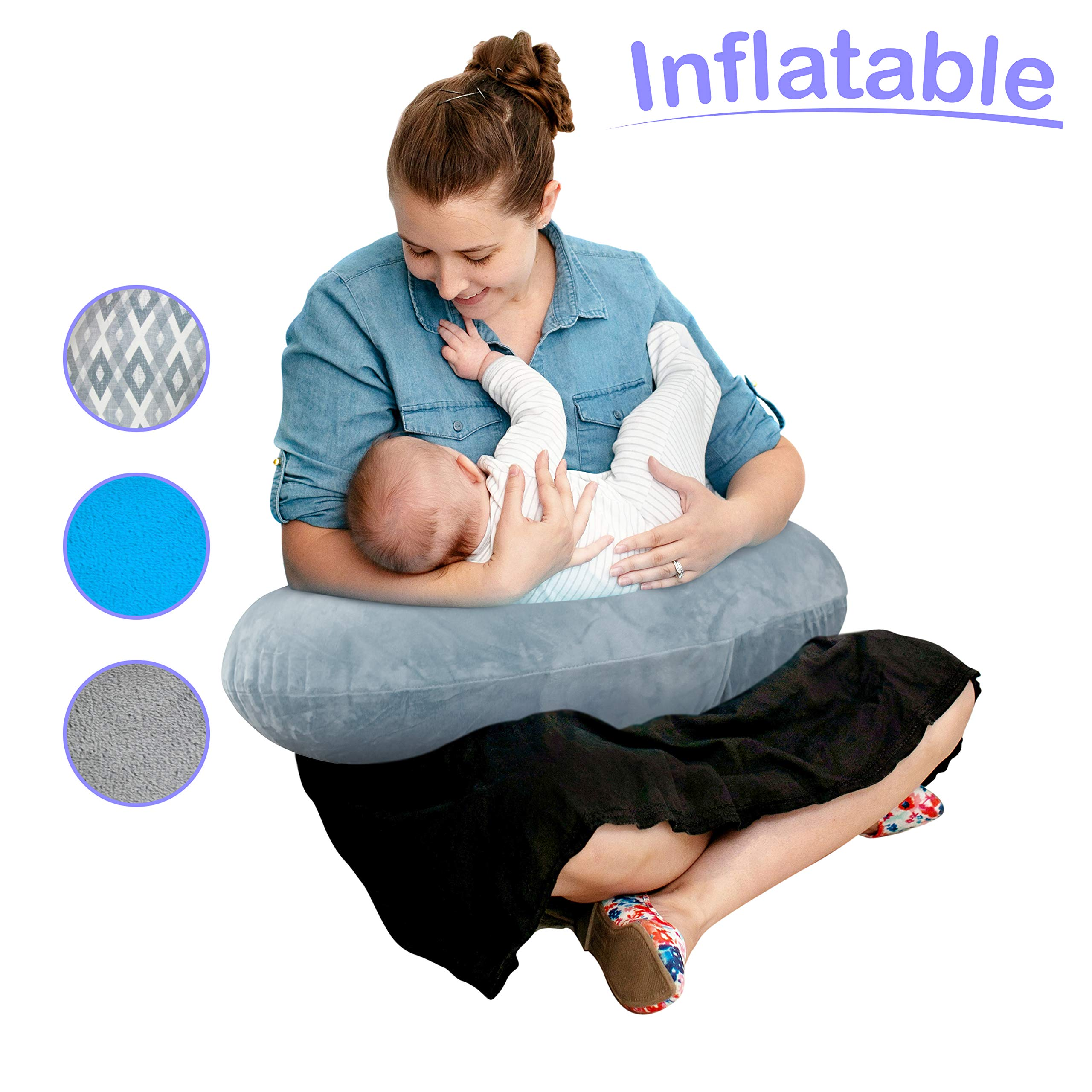 The Original Inflatable Nursing Pillow with Slipcover: Portable Breastfeeding Support Cushion with Removable Plush Minky Cover - Compact Breast Feeding Pillow for Traveling - No More Sore Muscles!