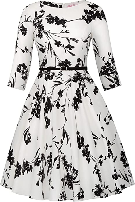 Belle Poque Damen Blumenkleid 3//4-Arm Winter Rockabilly Kleid Petticoat Kleid BP747