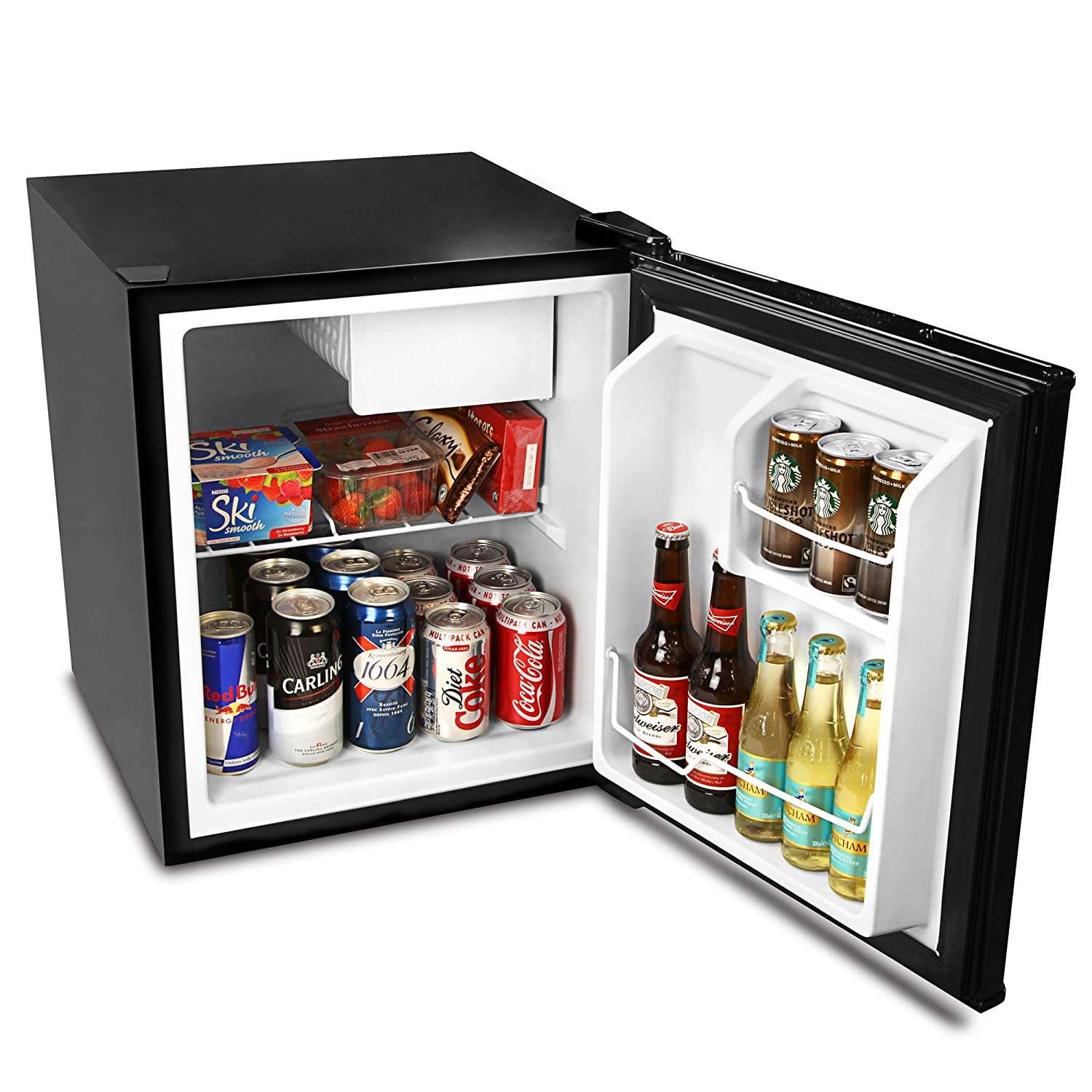 bar@drinkstuff Frostbite Zero Degrees Mini Fridge with Icebox 49ltr Black - Mini Fridge with Freezer Compartment