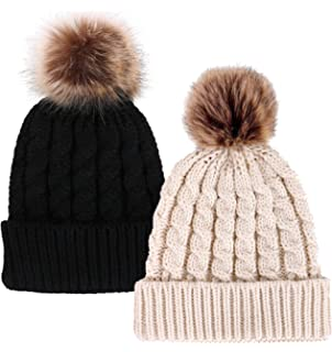 Simplicity Womens Winter Hand Knit Faux Fur Pompoms Beanie Hat d4ce736e7