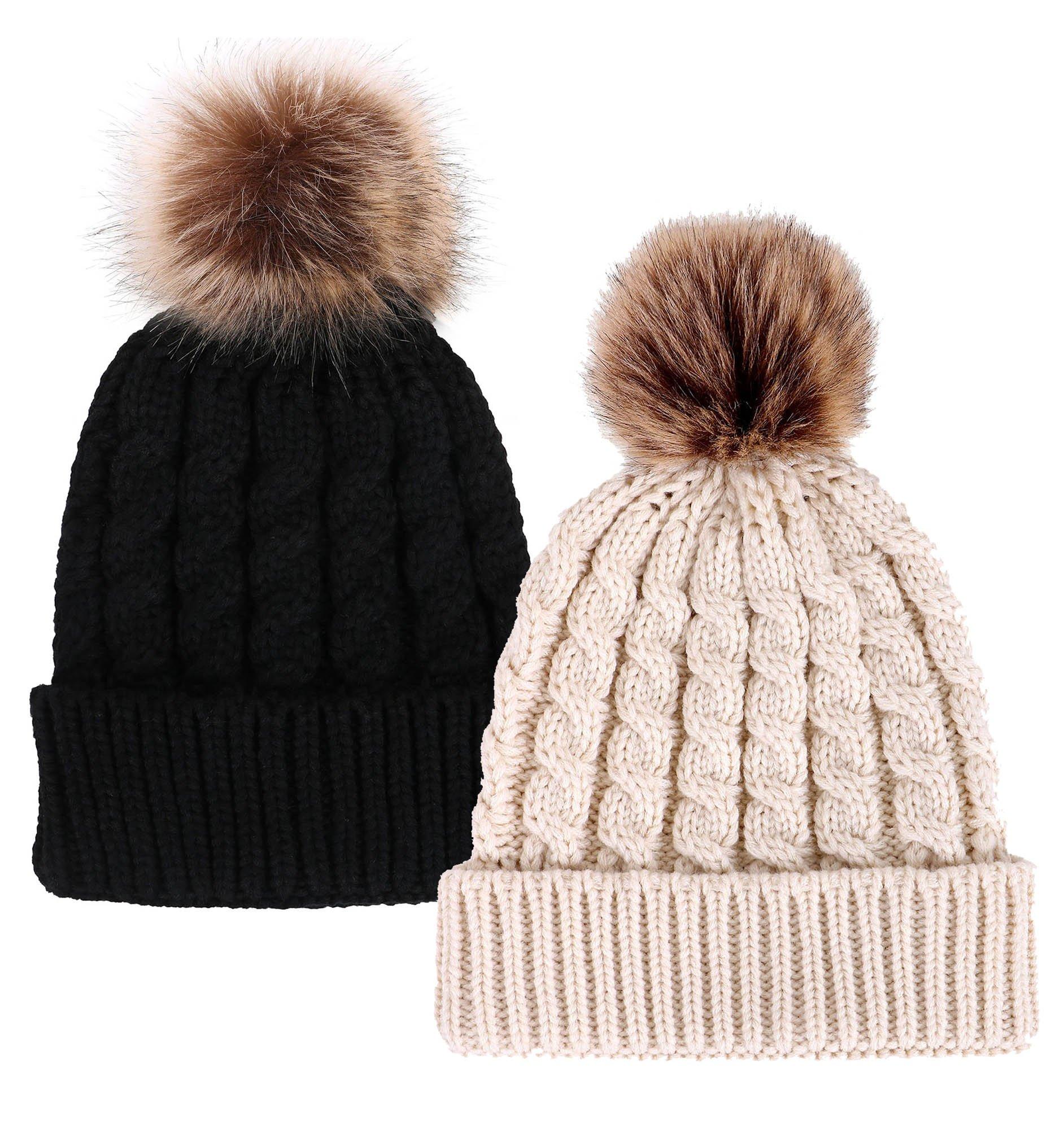 Simplicity Unisex Winter Hand Knit Faux Fur Pompoms Beanie 2 Pieces, Black/Cream by Simplicity