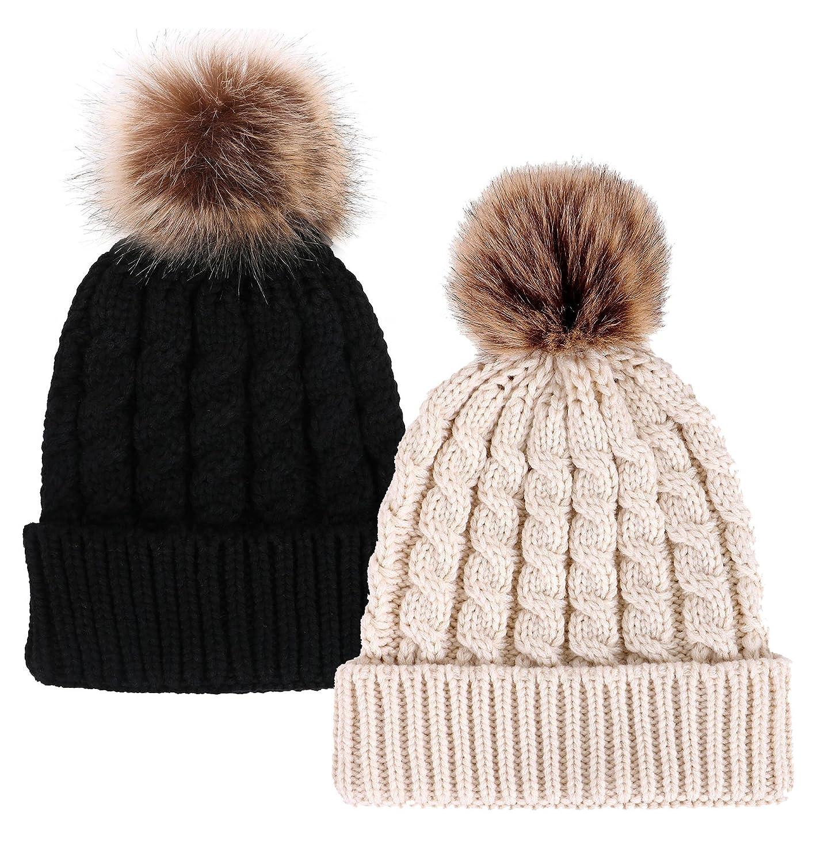 Simplicity Unisex Winter Hand Knit Faux Fur Pompoms Beanie 2 Pc Set ... 97c64576866