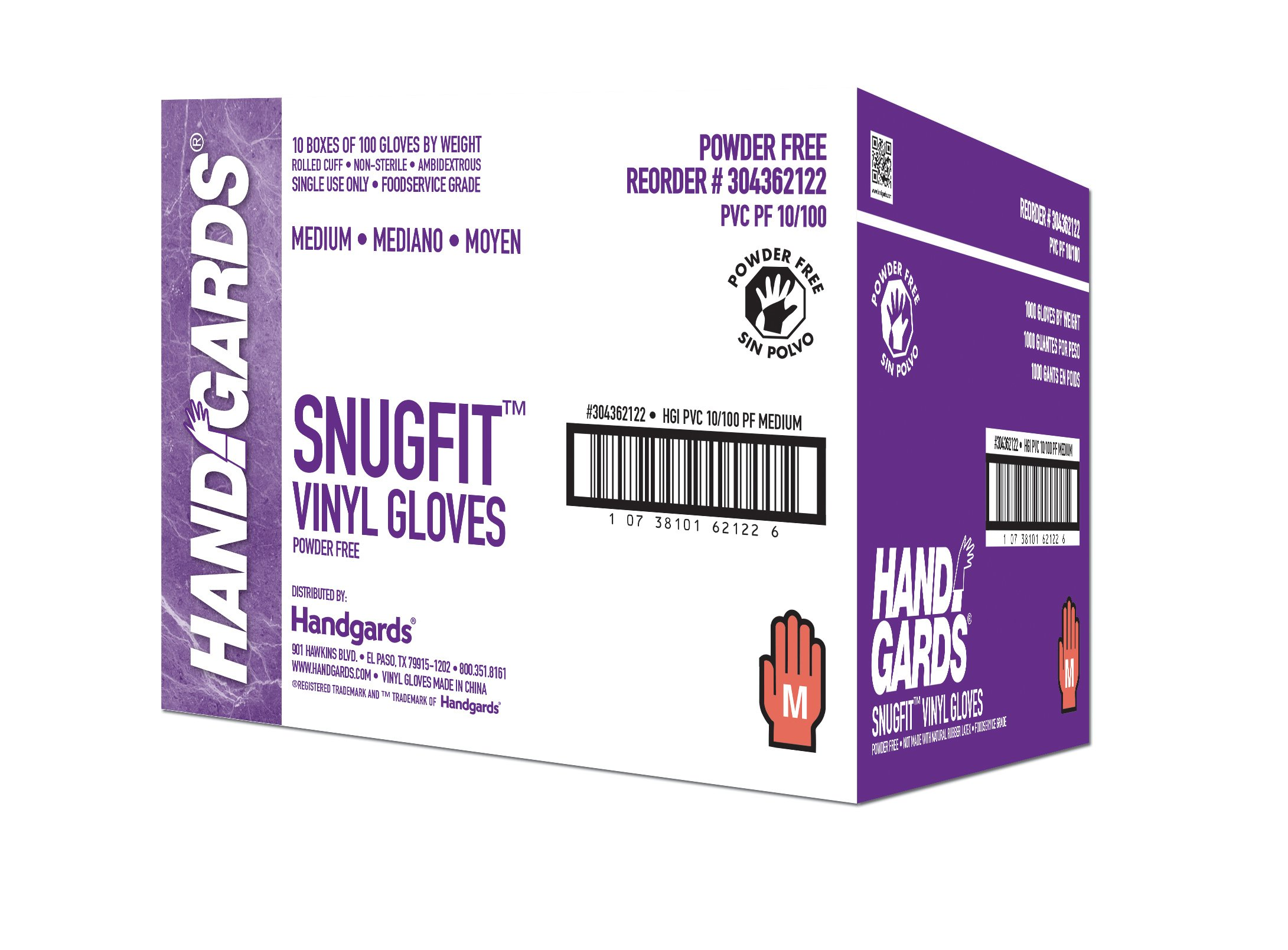 Handgards Glove Vinyl Powder Free Medium 100 ea. (10 count)