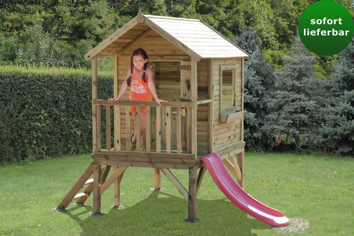 Kinderspielhaus 2B mit Rutsche - Abmessungen  180 x 120 cm