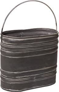 Red Co. Decorative Metal Bucket Basket Pocket Holder Container with Handle, for Kitchen, Bath, Indoor Outdoor Antique Vintage Primitive Style Décor, 9-inch