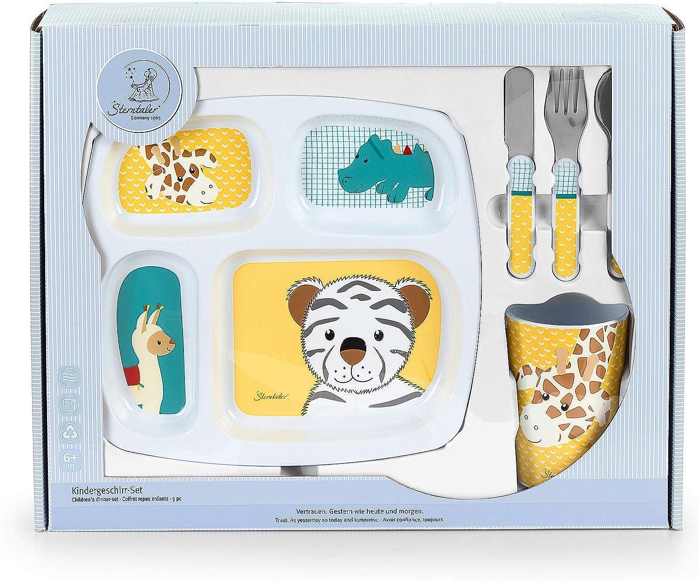 fourchette tasse Sterntaler Set de vaisselle Erik cuill/ère Assiette Bleu//Vert /Âge: Pour les b/éb/és /à partir de 6 mois couteau
