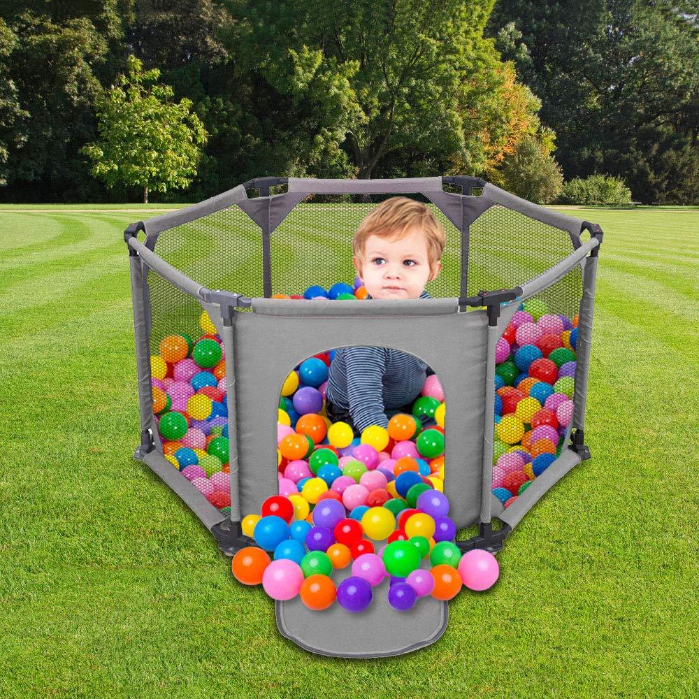 Kinderzaun 6-teilig Laufgitter Tragbar Waschbar mit Atmungsaktivem Netzstoff Kinderlaufstall f/ür Babys und Kleinkinder f/ür Drinnen und Drau/ßen grey Spielgitter f/ür Kinder