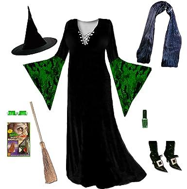 Sanctuarie Designs Womenu0027s Gothic Witch Green Deluxe Plus Size Supersize Halloween Costume Dress Kit/0x  sc 1 st  Amazon.com & Amazon.com: Womenu0027s Green Witch Velvet Plus Size Supersize Halloween ...