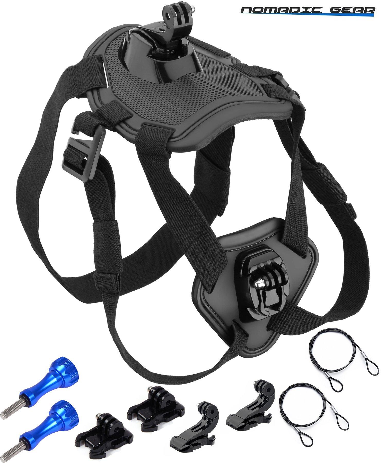 Nomadic Gear Dog Harness Chest Mount for GoPro, Garmin, Ricoh Action Cam, SJCAM, AKASO, Vtin, Cymas, Apeman, Lightdow, ODRVM, Vtin, Pictek, GT Road, Campark, SOOCOO Action Camera