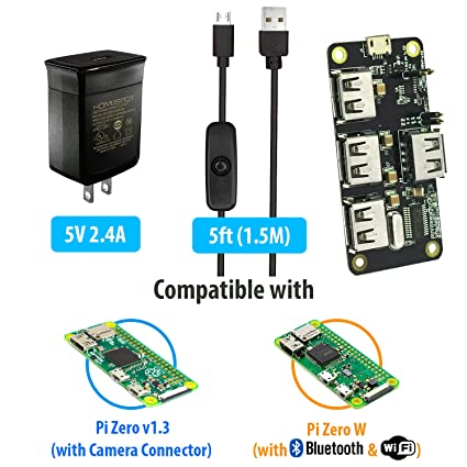 MakerSpot 4-Port Stackable USB Hub HAT for Raspberry Pi Zero W V1 3 with  2 4A Power Supply & 1 5m Micro USB Cable with On Off Switch