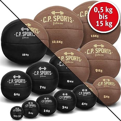 C.P.Sports - Balón Medicinal de Piel, Color Negro o marrón, Peso 0 ...