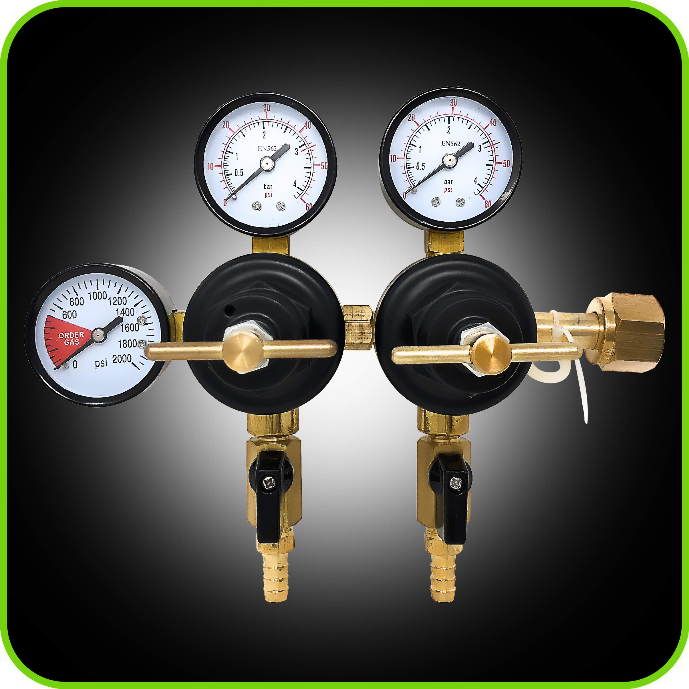 Co2 Beer Regulator Two Product Dual Pressure Kegerator Heavy Duty Features T-Style Adjusting Handle - 0 to 60 PSI-0 to 2000 Tank Pressure CGA-320 Inlet w/ 3/8'' O.D. Safety Discharge 50-55 PSI by Manatee (Image #3)