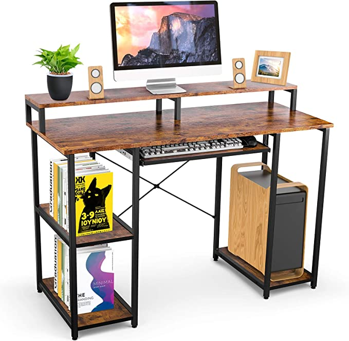 WDT Computer Desk with Keyboard Tray and Shelf, Brown   Amazon
