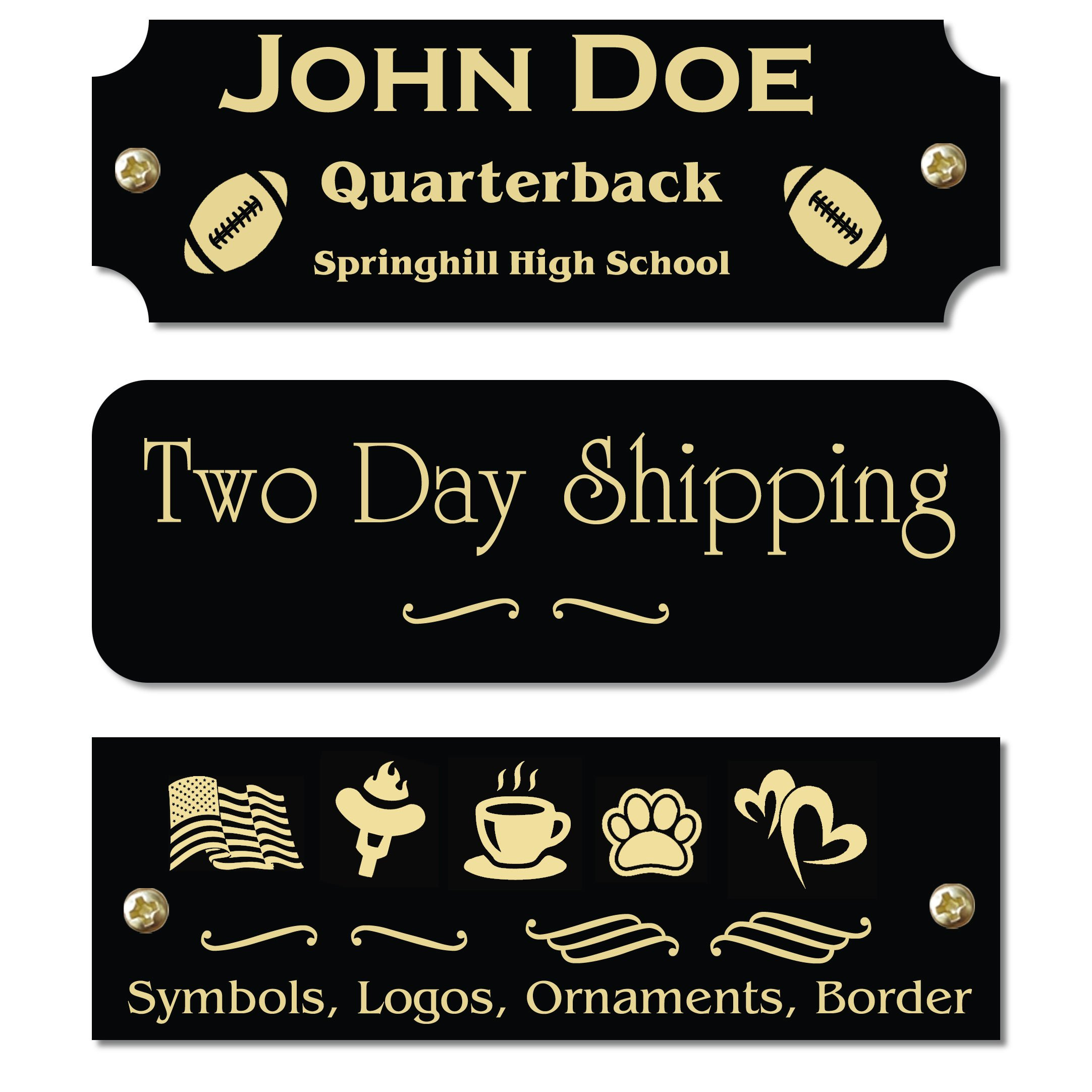 1'' H x 3'' W, Glossy Black Solid Brass Plate, Gold Character Personalized Custom Laser Engraved Polished Nameplate Label Art Tag for Frames Notched Square or Round Corners, Made in USA
