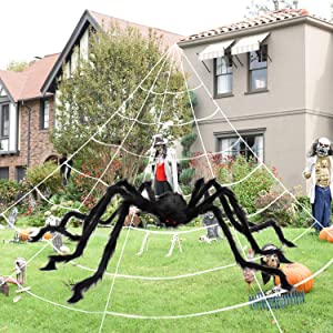 """MAIAGO Halloween Decorations, 200"""" Halloween Spider Web + 78.7"""" Giant Scary Fake Spider with Triangular Huge Spider Web for Halloween Outdoor Yard Decor, Home Costumes Parties, Haunted House Décor"""