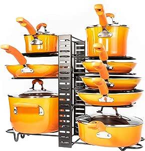 Pots and Pans Organizer – Kitchen Cabinet Organization and Storage – Pot Rack Organizers – 3 DIY Methods – Adjustable Pot Lid Holder for Kitchen Counter Pantry – Pot and Pan Organizer