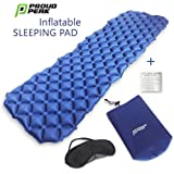 Sleeping Pad Camping Air Mattress - includes Soft, Comfortable Sleep Mask - Ultralight Sleeping Mat Ideal for Backpacking, Hiking, Fishing, Travel and All Outdoor Adventures for Kids, Adult Men, Women