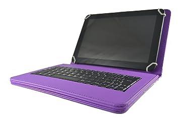 Theoutlettablet® Funda con Teclado extraíble en español (Incluye Letra Ñ) para Tablet Bq Aquaris M10 / Bq Edison 3 / Woxter QX105-103 / Color Morado