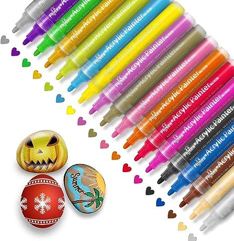 Acrylic Paint Pens 18 Colors Permanent Paint Art Markers Waterbased Pen Set for