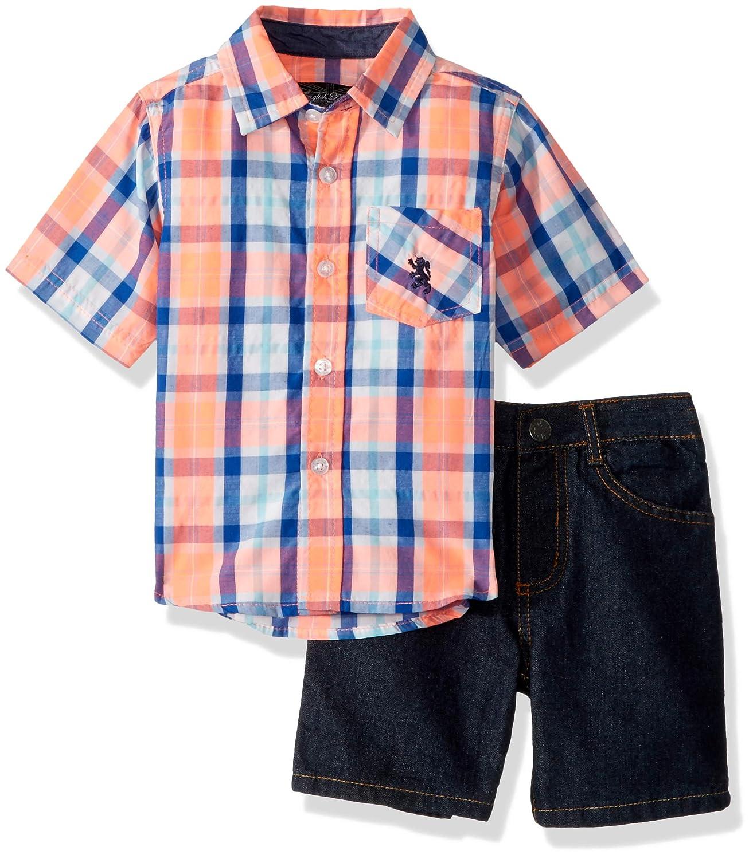 English Laundry Boys' Long Sleeve Two Pocket Plaid Sport Shirt and Denim Short