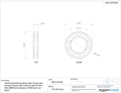 FAG 6215-C4 Radial Bearing Open Single Row 130mm OD 75mm ID 11000lbf Static Load Capacity Metric 15000lbf Dynamic Load Capacity Schaeffler Technologies Co. C4 Clearance ABEC 1 Precision Steel Cage 25mm Width