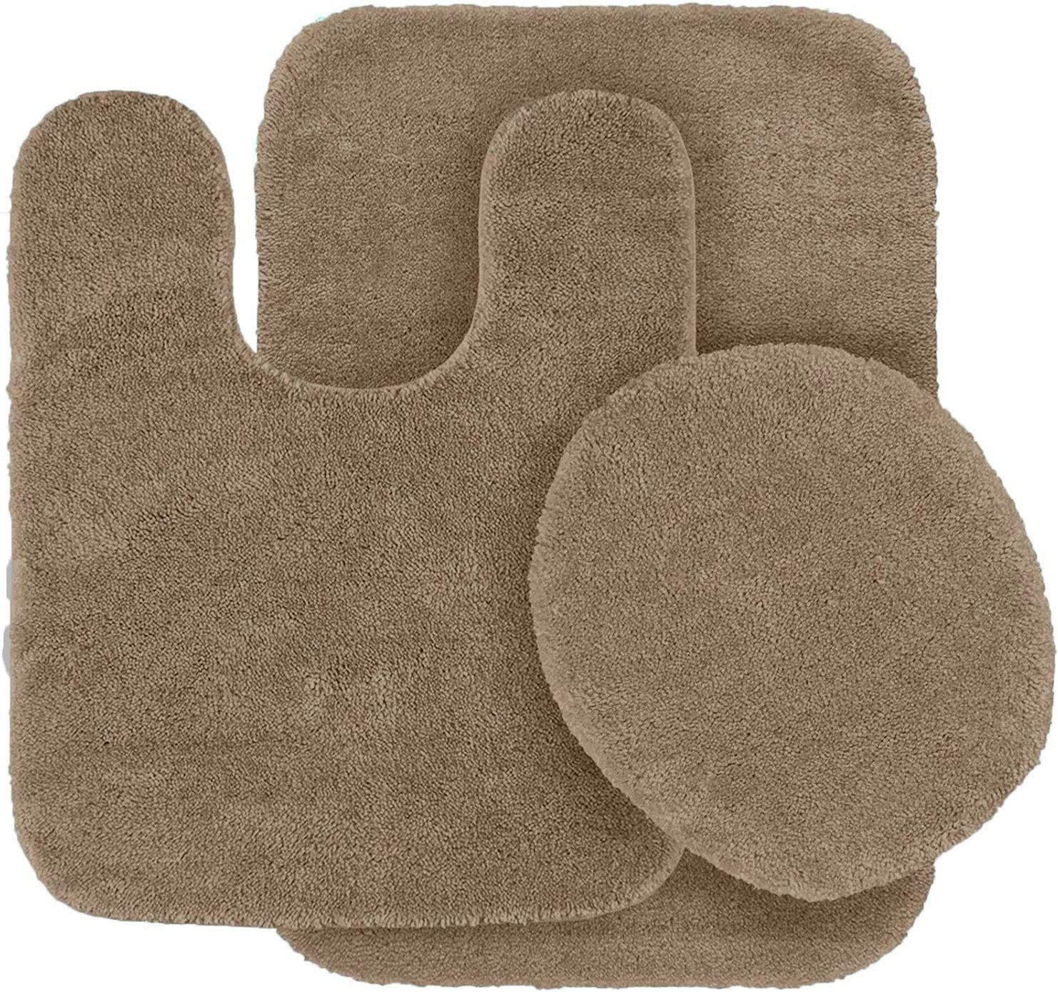 Amazon Com Mk Home Collection 3 Piece Bathroom Rug Set Bath Contour Mat Lid Cover Non Slip With Rubber Backing Solid Beige New Kitchen Dining