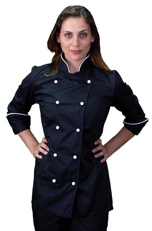 tessile astorino giacca cuoco basic nera e bianca, modello donna, manica lunga, OFFERTA PROMOZIONALE