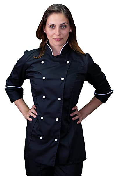 tessile astorino Giacca Cuoco Basic Nera e Bianca 635a61139463