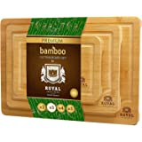 Bamboo Cutting Board Set with Juice Groove (3 Pieces) - Wood Cutting Boards for Kitchen, Wood Cutting Board Set, Kitchen Chop