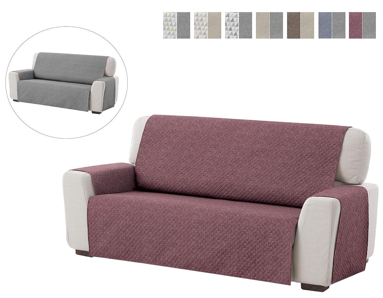 Textilhome - Funda Cubre Sofá Dante, 3 Plazas, Protector para Sofás Acolchado Reversible. Color Rojo