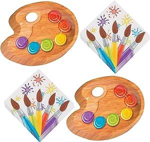 Art Party Supplies - Paint Palette Paper Dessert Plates and Artist Brush Beverage Napkins (Serves 16)