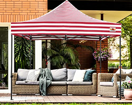 ABCCANOPY Popup Canopy 10×10 Outdoor Canopy Tent Commercial Canopy Instant Shelter Bonus Wheeled Carry Bag,Sandbags,Stakes and Ropes Red