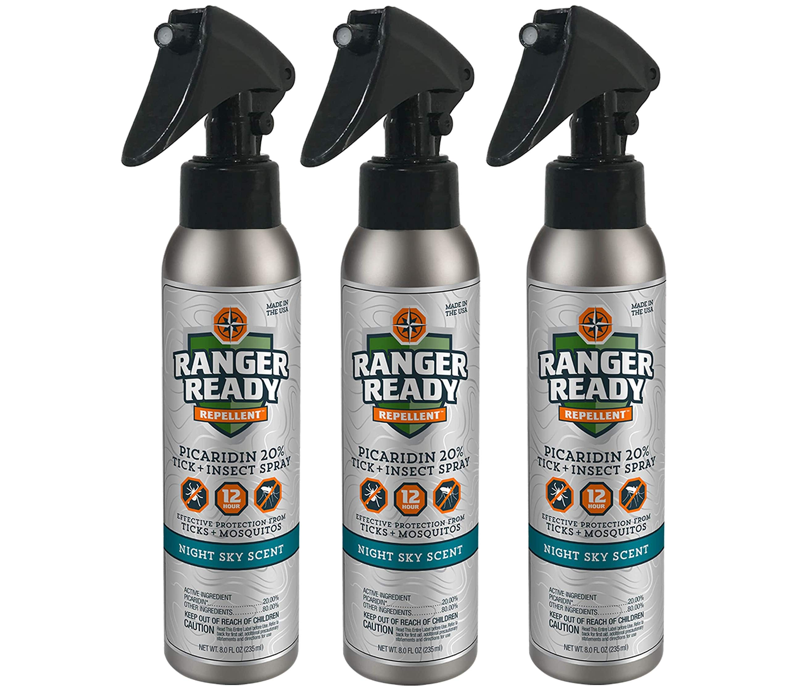 Ranger Ready Repellents Picaridin 20% Tick + Insect Repellent Expedition Pack Trigger | Night Sky Scent | 3X235ml/8.0oz by Ranger Ready Repellents