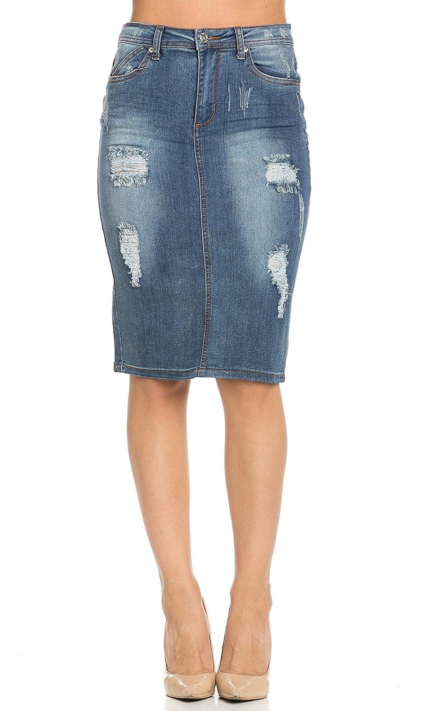 Distressed Stretch Denim High Waisted Knee Length Pencil Skirt