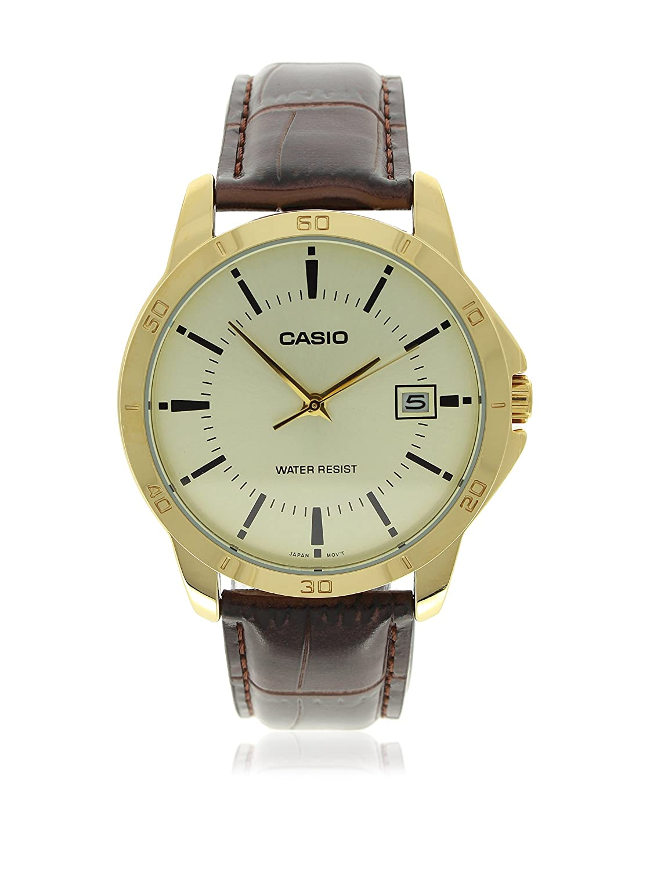 Casio Men s MTP-V004GL-9A Date Quartz Watch with Genuine Leather