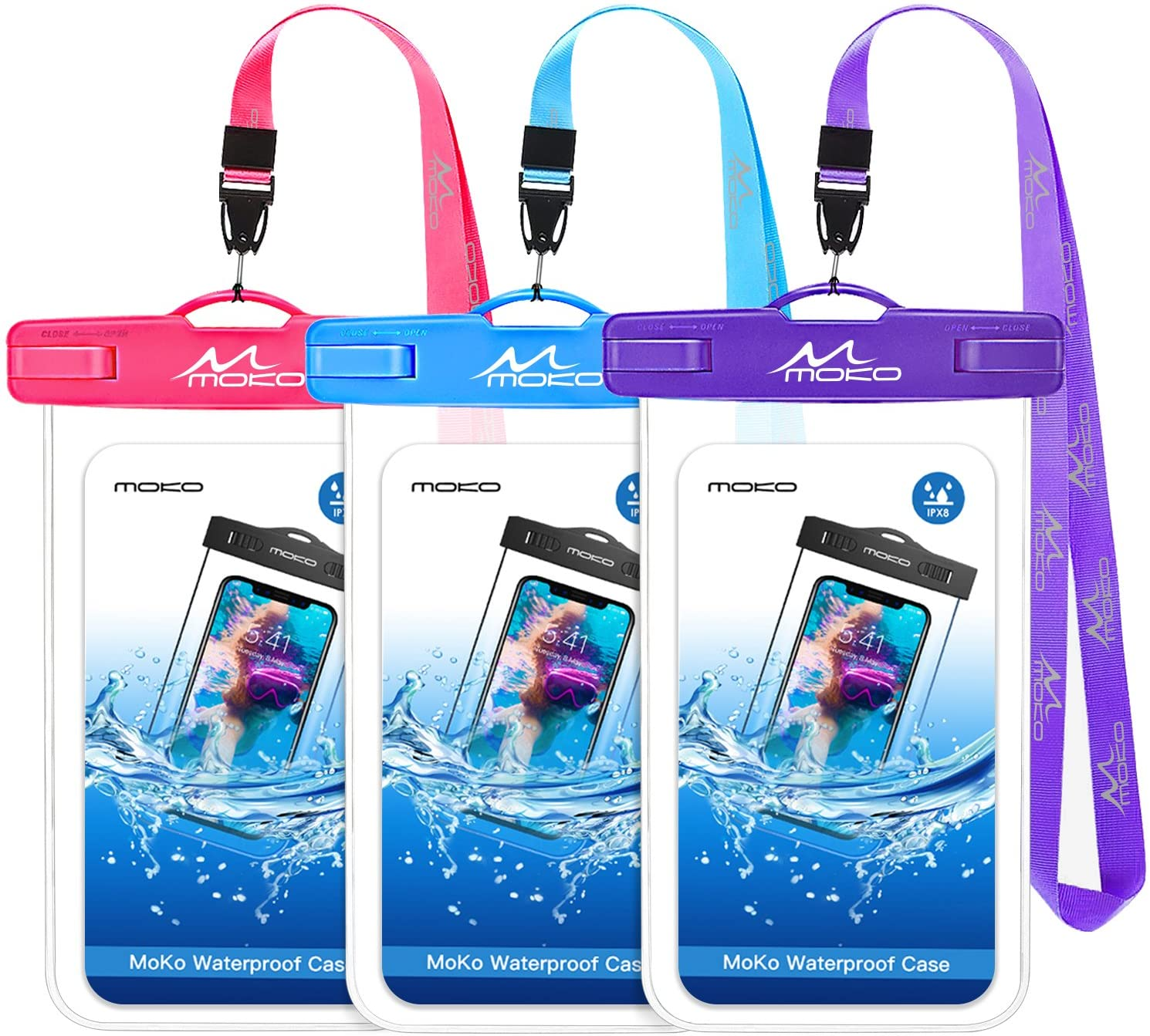 MoKo Waterproof Phone Pouch [3 Pack], Underwater Clear Phone Case Dry Bag with Lanyard Compatible with iPhone 12 Mini/12 Pro, iPhone 11 Pro Max, X/Xs/Xr/Xs Max, 8/7, Galaxy S21/S10/S9, Note 10/9/8