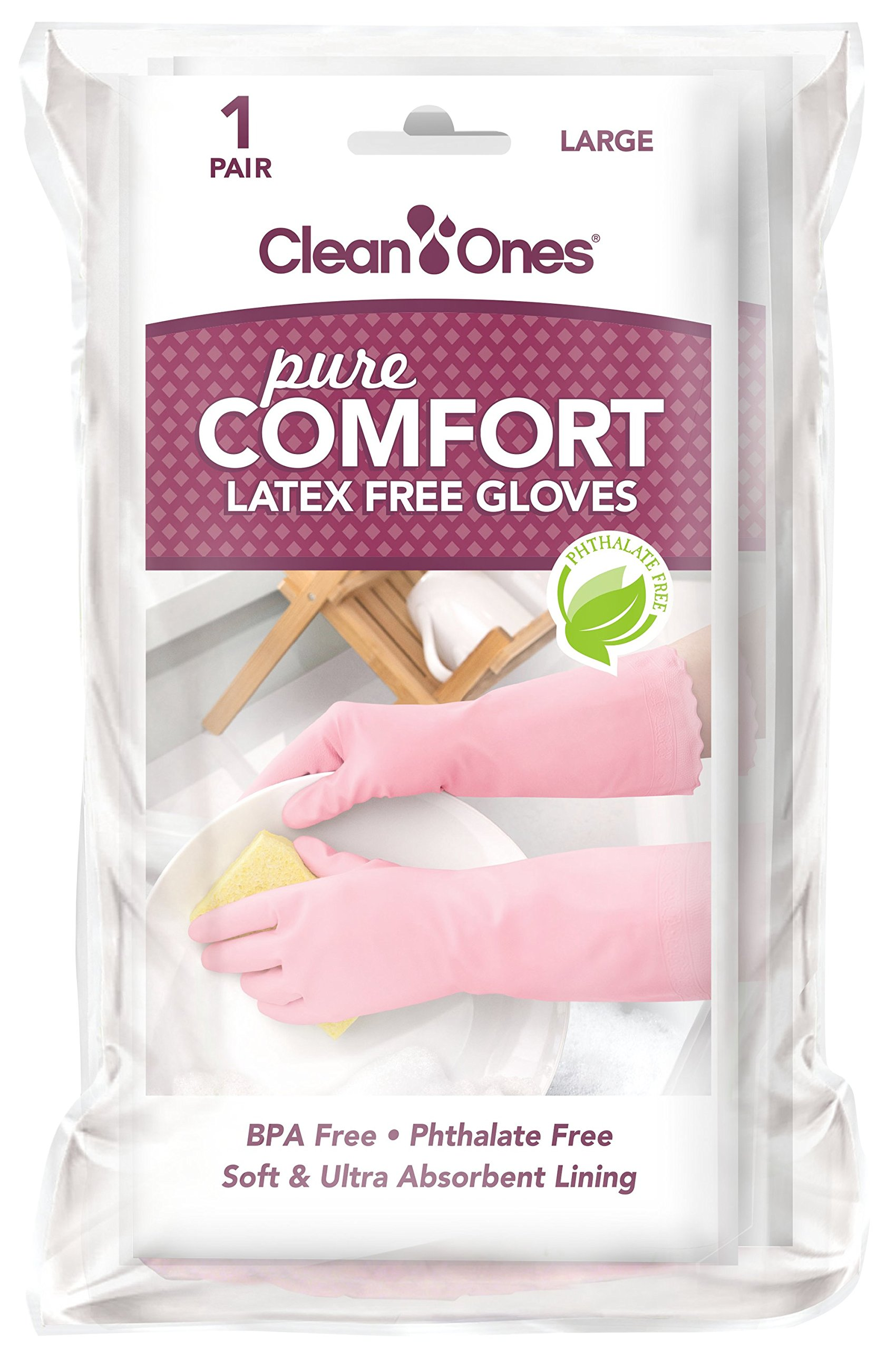 Clean Ones Pure Comfort Latex Free Vinyl Gloves - 2pr (Large)