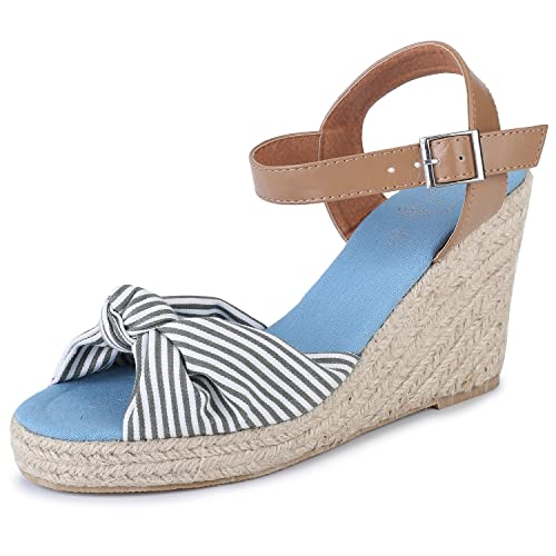 d37647756dc Alexis Leroy Women's Open Toe Buckle Strap Bow Wedge Espadrille Sandals