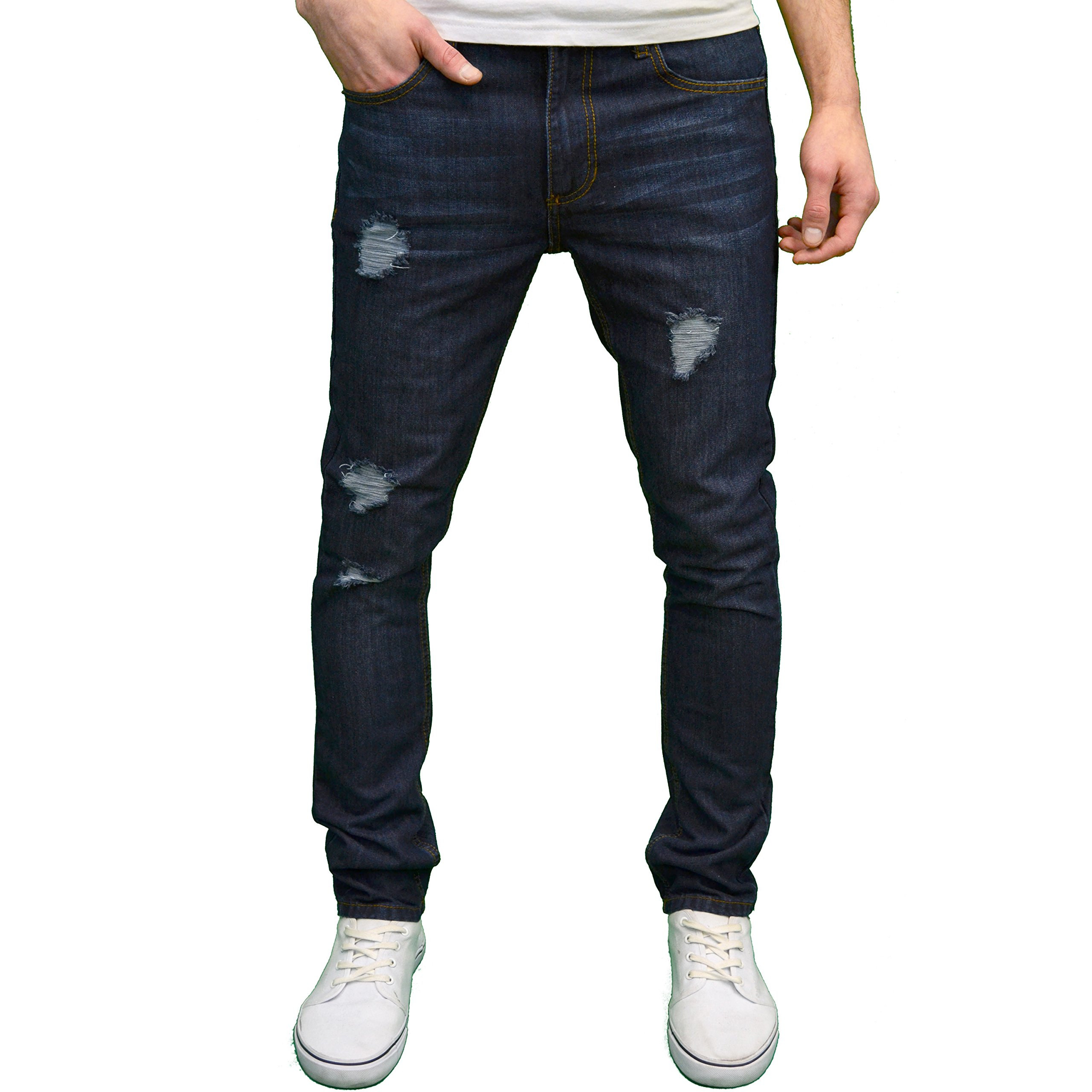 SOULSTAR Mens Designer Ripped Straight Leg Slim Fit Jeans, Available In 4 Colours (36W x 30L, Dark Blue)