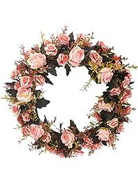 Duovlo Rose Floral Twig Wreath 19 Inch Handmade Artificial Flowers Garland  Front Door Wreath (Pink