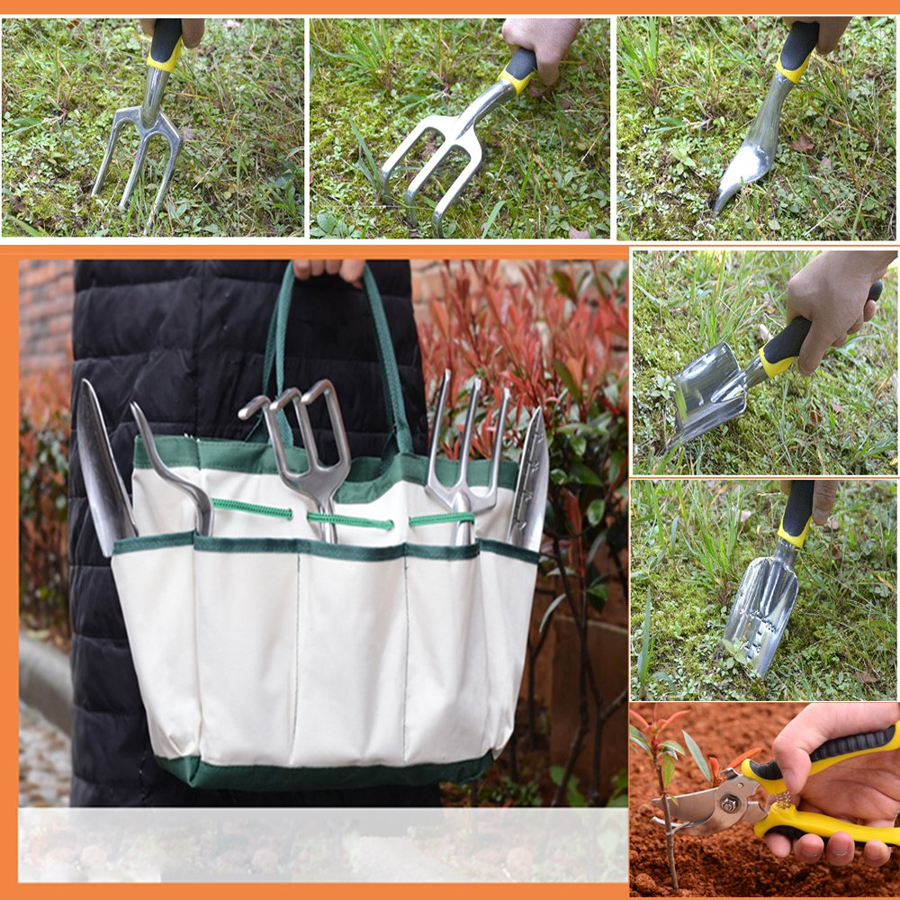 HmiL-U Garden Tool Sets 9 piece Gardening tool with Plant Tie- Garden Tote and Garden Gloves and more Christmas gifts for your parents. by HmiL-U (Image #4)