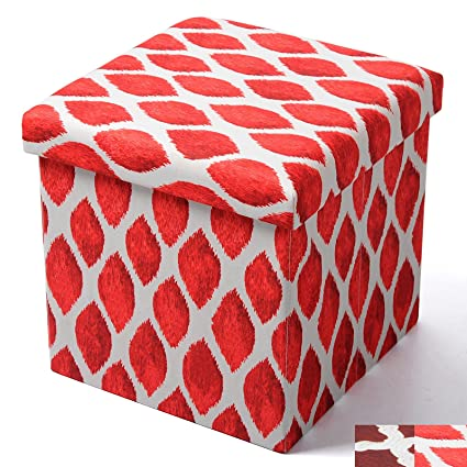 Groovy Woltu Foldable Storage Ottoman Foot Rest Cube 15 Inch Printcloth Red For Kids Toy Machost Co Dining Chair Design Ideas Machostcouk