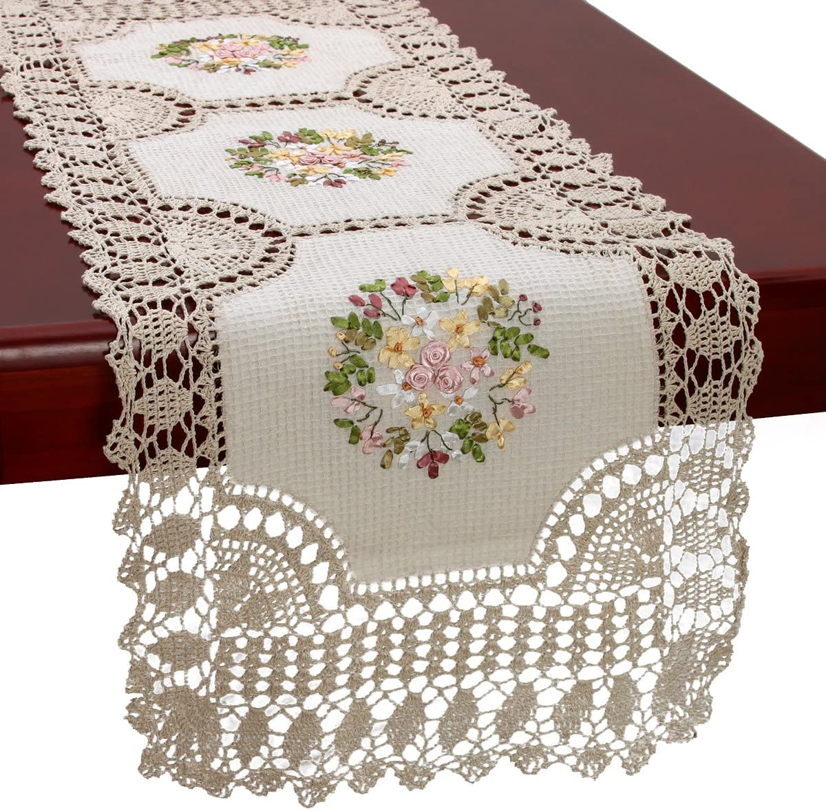 EMBROIDERED TABLE RUNNER or Dresser Scarf